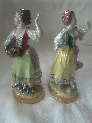$ CDN237.75 • Buy Pair Of Female Lady Aelteste Volkstedt Porcelain Figurines Germany Gilt Bases