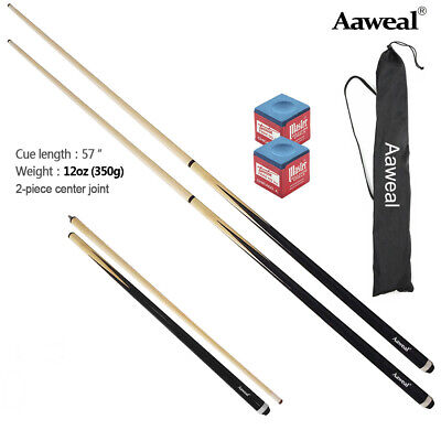 58  Superior  2 Piece Snooker / Pool Cues With Free Case, Chalk • 17.99£