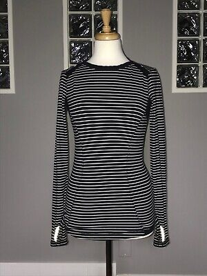 $ CDN57.80 • Buy Lululemon Base Runner Long Sleeve 6 8 Parallel Stripe Black White Euc