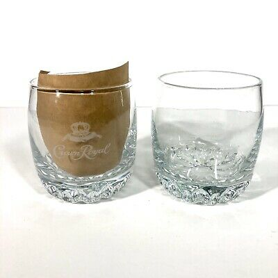 Crown Royal Whiskey Glass Set Of 2 Etched Pillow Low Ball Rocks Weighted Bottom • 12.80$