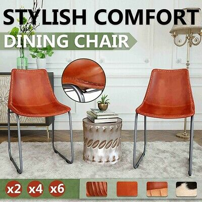 AU702.99 • Buy VidaXL 2/4/6x Dining Chairs Genuine Leather Brown Home Kitchen Furniture Seat