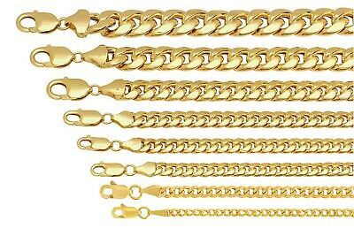 $283.21 • Buy 10k Yellow Gold Miami Cuban Link Chain Necklace Bracelet 4mm-7.5mm Size 7 -30
