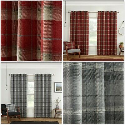 Blackout Highland Carnoustie Tartan Check Lined Eyelet Ring Top Curtains Pair • 47.99£