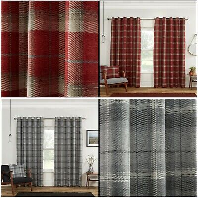 Blackout Highland Carnoustie Tartan Check Lined Eyelet Ring Top Curtains Pair • 87.99£