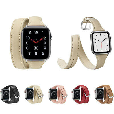 AU15.93 • Buy 40/44mm Slim IWatch Leather Band Women Double Tour Strap For Apple Watch 6 5 4 3