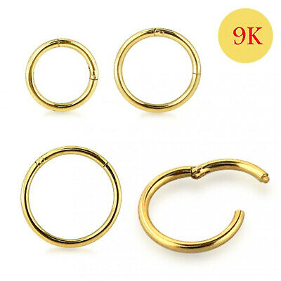 AU43.68 • Buy 9ct Solid Yellow Gold Classic Hinged Segment Nose Tragus Ring 18G 8mm