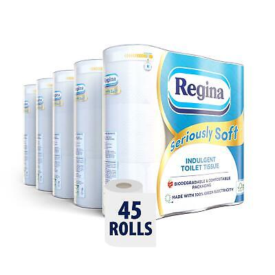 £21.99 • Buy REGINA Seriously Soft 45 Toilet Rolls – 175 Soft 3 Ply Quilted Sheets Per Roll