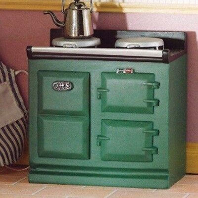 Green Resin Aga Style Stove, Dolls House Kitchen Cooker, Furniture. 1.12th Scale • 7.89£
