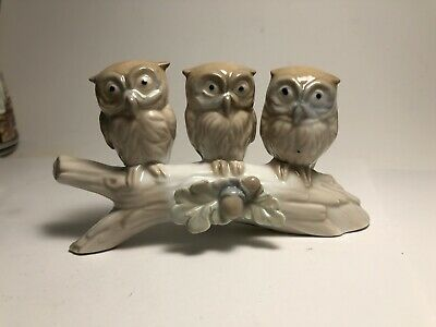 $ CDN12.99 • Buy Cute Porcelain Figurine Three Owls On Branch Owl Collectible Vancouver Pottery