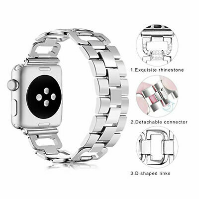 $ CDN6.52 • Buy Stainless Steel Bling Diamond Bands For Apple Watch Series 4 3 2 1 IWatch Straps