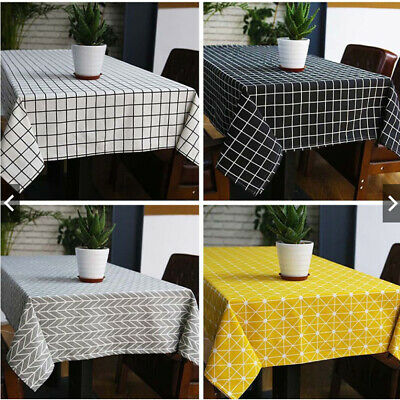 Tablecloth Cotton Linen Rectangle Home Dinner Table Cloth Cover Kitchen Picnic • 7.99£