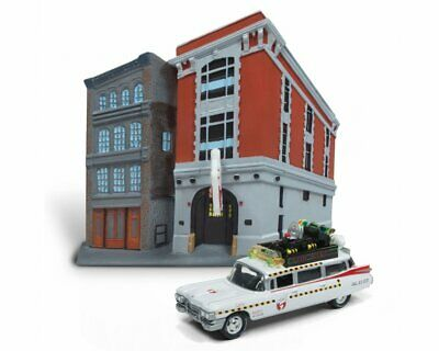 Cadillac Miller Meteor ECTO-1A Diecast Model Car With Firehouse Diorama From Gho • 25.64£