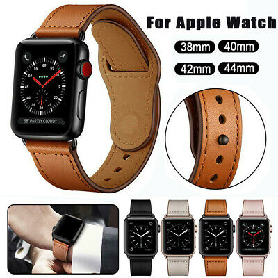 $ CDN7.64 • Buy Genuine Leather Band Strap Wristband For Apple Watch Series 5 4 3 2 1 42/40/44mm