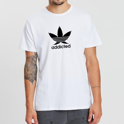 Mens White Addicted To Weed Cannabis Leaf T-Shirt Tee Top Blow Ganja Pot Adidas • 9.99£