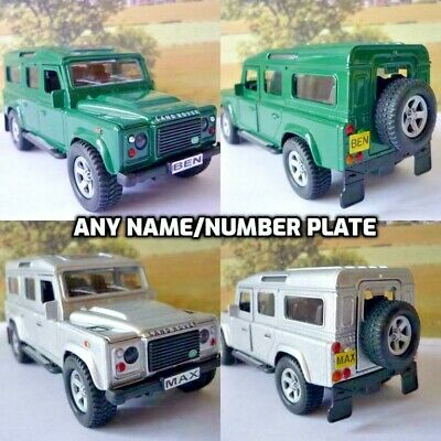 PERSONALISED PLATE 4x4 LAND ROVER DEFENDER Toy Model Present Boxed 2 Colours • 8.95£