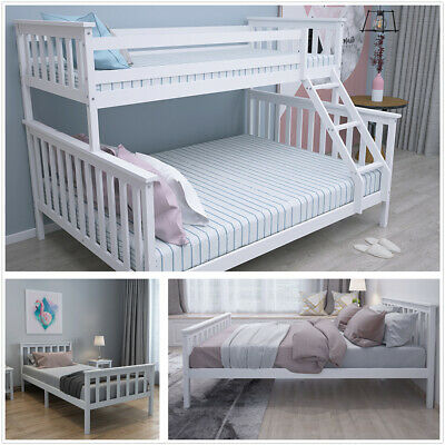 £94.90 • Buy Wood Bed Frame 3FT Single/4FT6 Double/Triple Sleeper Bunk All White Adult Child