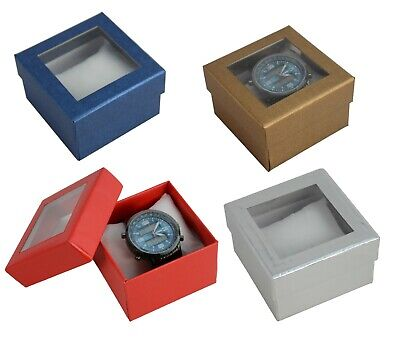 12 X Two Piece Card Watch / Bangle Pillow Box With Window Jewellery Gift Boxes • 13.95£