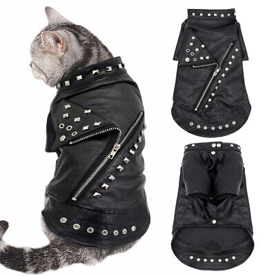 £9.99 • Buy Fashion Leather Jacket Waterproof Small Dog Coats For Winter Pet Cat Clothes Pug