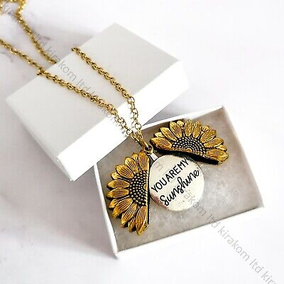 You Are My Sunshine Necklace Open Locket Sunflower Pendant Lover  + GIFT BOX • 6.99£