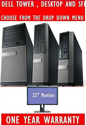 DELL OPTIPLEX I3 I5 I7 DESKTOP TOWER SFF COMPUTER PC 2TB 8GB 22  WIDESCREEN TFT • 169.99£