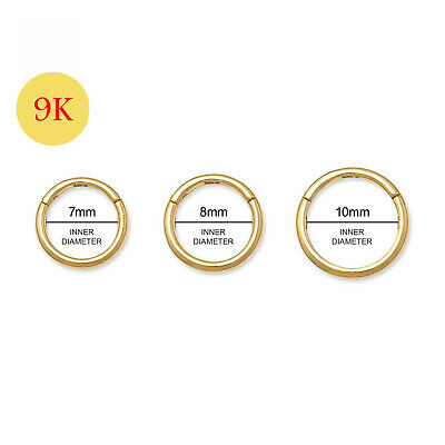 AU46.35 • Buy 9ct Solid Yellow Gold Classic Hinged Segment Nose Tragus Ring 18G 10mm