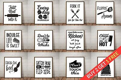 Kitchen Picture Art Poster Prints. Quality Quote Wall Art Funny Home Sayings • 3.49£