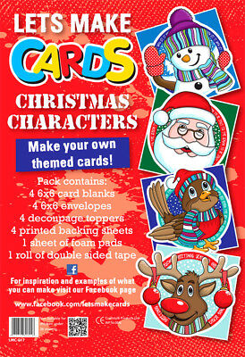 Lets Make Cards FULL Kit Childrens Cut & Create Decoupage CHRISTMAS CHARACTERS • 4.99£