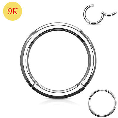 AU54.37 • Buy 9ct Solid White Gold Classic Hinged Segment Captive Nose Tragus Ring 18G 10mm