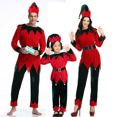 $28.98 • Buy Mens Womens Kids Unisex Cute Christmas Elf Holiday Costume Outfit Shirts Pants