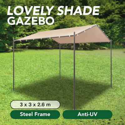 AU152.99 • Buy VidaXL Gazebo Pavilion Tent Canopy 3x3m Steel Beige Outdoor Event Shade Canopy