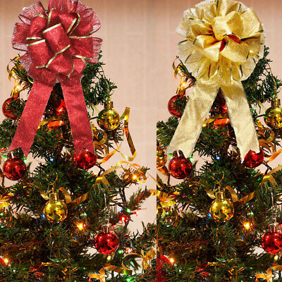 Christmas Tree Bow Topper Bowknot Tree Top Indoor Xmas Wreaths Party Decor US • 7.99$