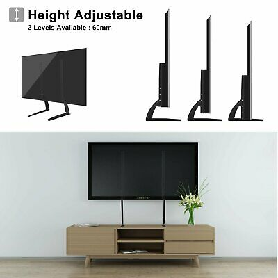 Universal Table Top TV Stand Base Mount For 27- 65  Height Adjustable Load 99Lbs • 18.49$