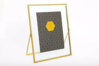 Gold Floating Thin Edge Glass Freestanding Metal Photo Picture Frame 4x6 Or 5x7 • 7.45£