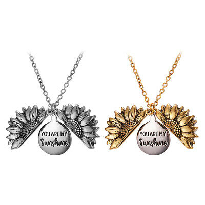 $4.69 • Buy You Are My Sunshine Open Locket Sunflower Pendant Chain Necklace Jewelry Gifts