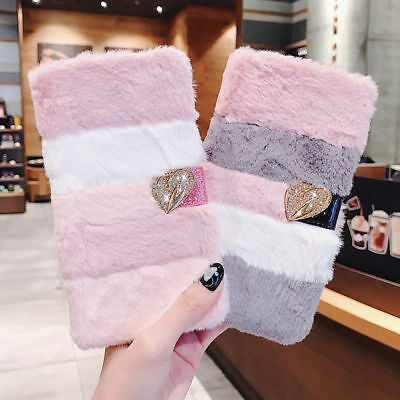 £7.49 • Buy Bling Diamond Leather Fluffy Faux Fur Soft Flip Case Cover For IPhone 11 8+ 7 XS