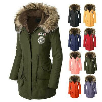 Womens Faux Fur Trim Hood Long Winter Parka Coat • 17.49£