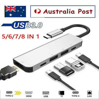 AU38.34 • Buy 6/7/8 IN 1 USB-C To 4K HDMI Dual USB3.0 Micro SD Card Reader Charger Adapter Hub