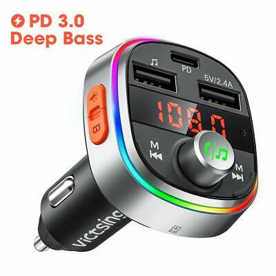 VicTsing Hands-free Bluetooth Car Kit MP3 Player FM Transmitter USB Car Charger • 13.01£