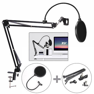 Broadcast Mic Desktop Microphone Suspension Boom Scissor Arm Stand Holder UK • 9.39£