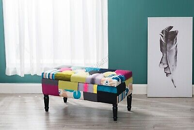 WestWood Fabric Patchwork Footstool Storage Bench Ottoman Multicolour Retro PC03 • 99.99£