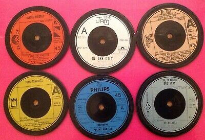 Six Hand Crafted Original Vinyl Record Drinks Coasters Memories From  The 1970s • 9.99£
