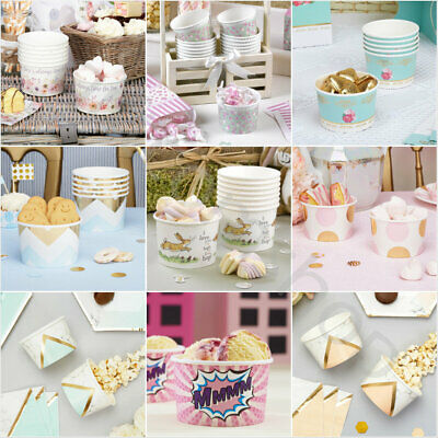 Disposable Paper Ice Cream Dessert Cups Bowl Container Treat Tubs Party Catering • 4.99£