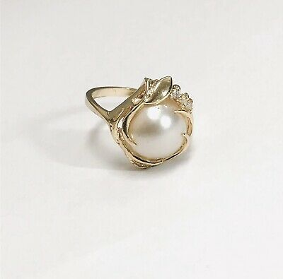 $316 • Buy 14K Yellow Gold 11 Mm White Mabe Pearl  & Accent Diamonds  Ring Size 7