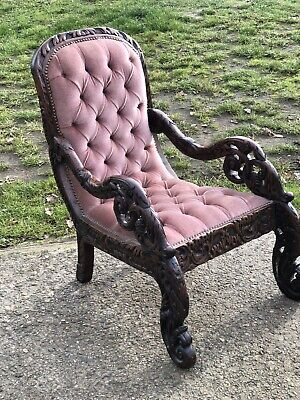 Antique Button Back Chair Highly Ornate Carving  • 225£