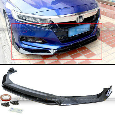 $64.99 • Buy For 18-20 Accord 4Pcs Carbon Fiber Painted Sport Style Front Bumper Lip Spoiler