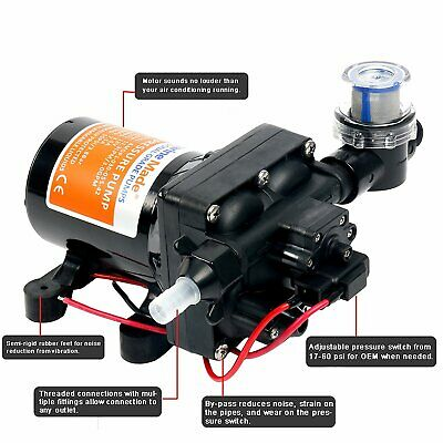 $53.99 • Buy Amrine-made 12v 42-Series Water Pressure Diaphragm Pump W/ Variable Flow 3.0GPM