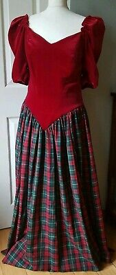 Vintage Red Velvet Green/red Tartan Check Puff Sleeve Ball Gown Xmas Dress 12/14 • 95£
