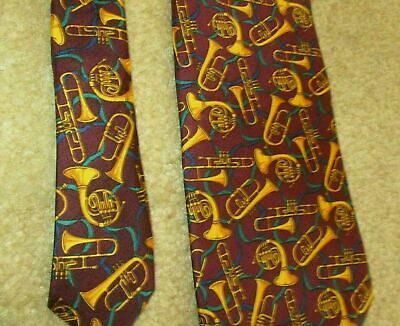 Novelty Necktie Neck Tie - Allyn - Horns Trombone MUSIC Teacher Musician Silk 11 • 10$