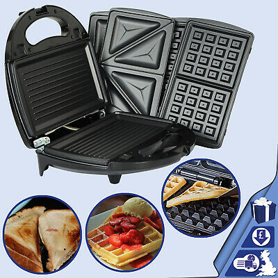 £31.99 • Buy 3in1 Sandwich Toaster Kitchen Waffle Maker 750W Toaster Iron Grill Panini Press