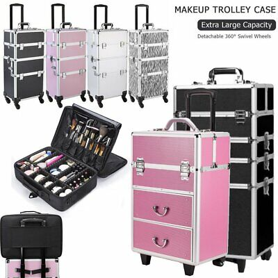 Rolling Professional Makeup Trolley Artist Travel Case Cosmetic Storage Case • 31.33$